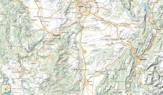 Plan de situation d'Anneyron Lien vers: https://umap.openstreetmap.fr/fr/map/carte-interactive-de-porte-de-dromardeche_375152#10/45.3338/4.9342