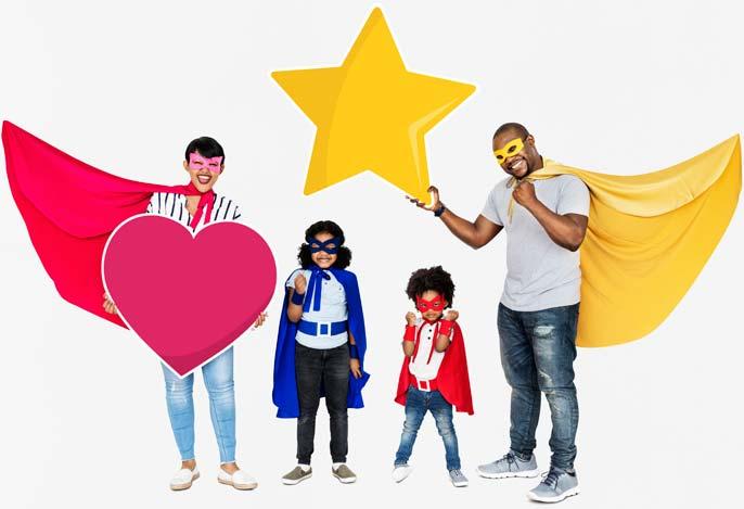 une famille de super-héros tiennent un cœur et une étoile