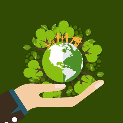 Illustration qui représente une main et tenant soutenant la terre sur laquelle nous vivons