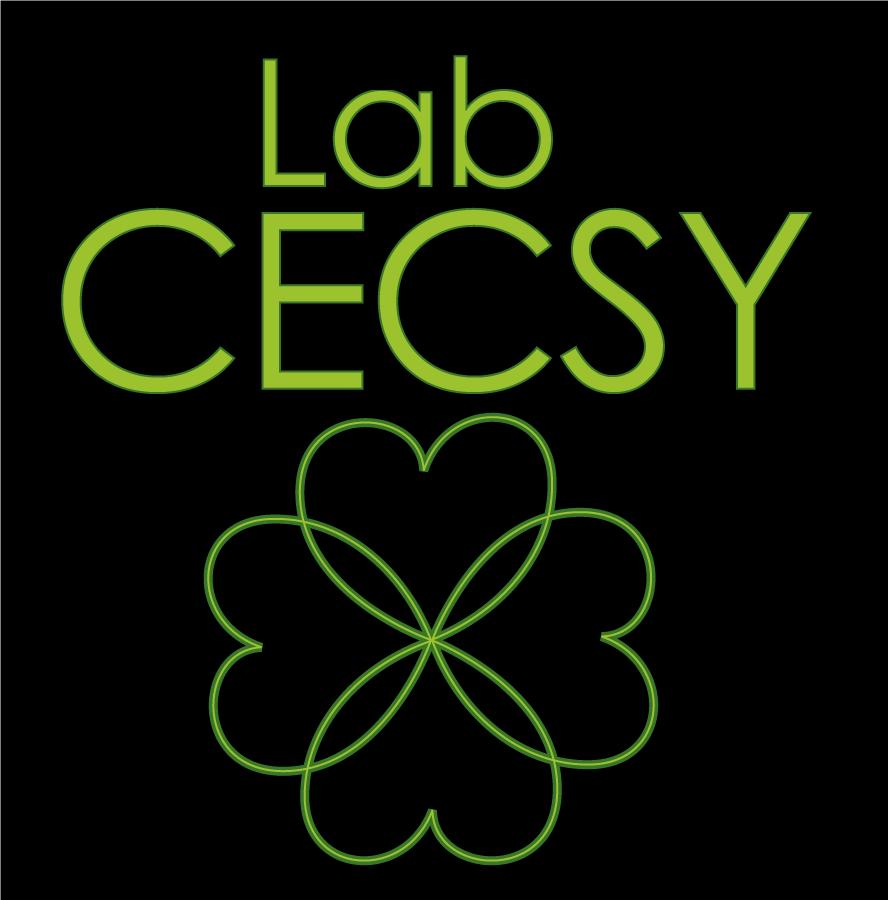 Version carrée sur fond noir du logo du Lab CECSY, représenté par un trèfle à 4 feuilles, dont les feuilles sont comme liées entre elles